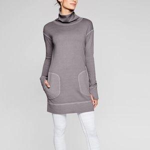 Athleta Eco Wash Turtleneck Sweatshirt Dress Sz L